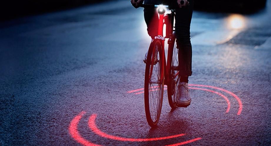 自行车夜行神器 自带激光可投射圆形光环