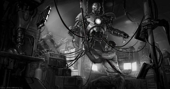 这是来自漫威首席概念设计师Ryan Meinerding的钢铁侠画稿