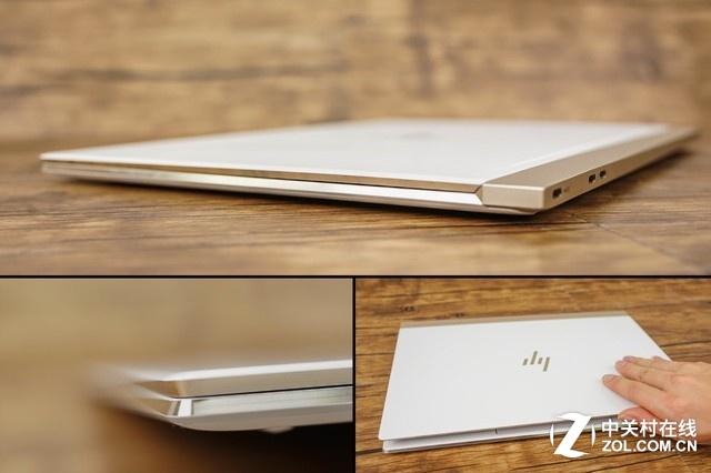 除了尾部外,Spectre 13其他的三面侧边都采用了向内凹陷的楔形线条设计,这也是今年Spectre 13采用的全新设计。在提升整机档次的同时,还替代了上代前部凹槽缺口的设计,使得单手大拇指抠住前部凹陷处任何一个位置都可以实现单手开合屏幕。